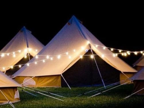 luxury Glamping Tent at night