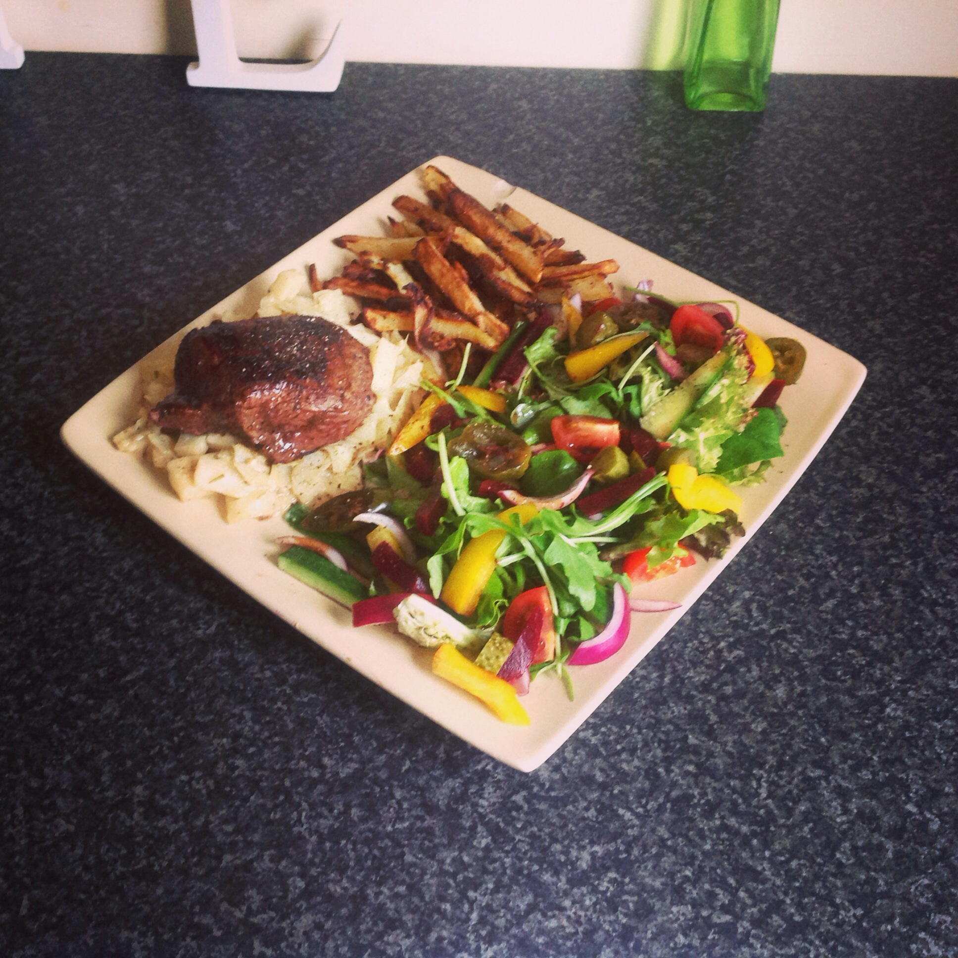 Fillet steak, sautéed cabbage and syn free chips and salad