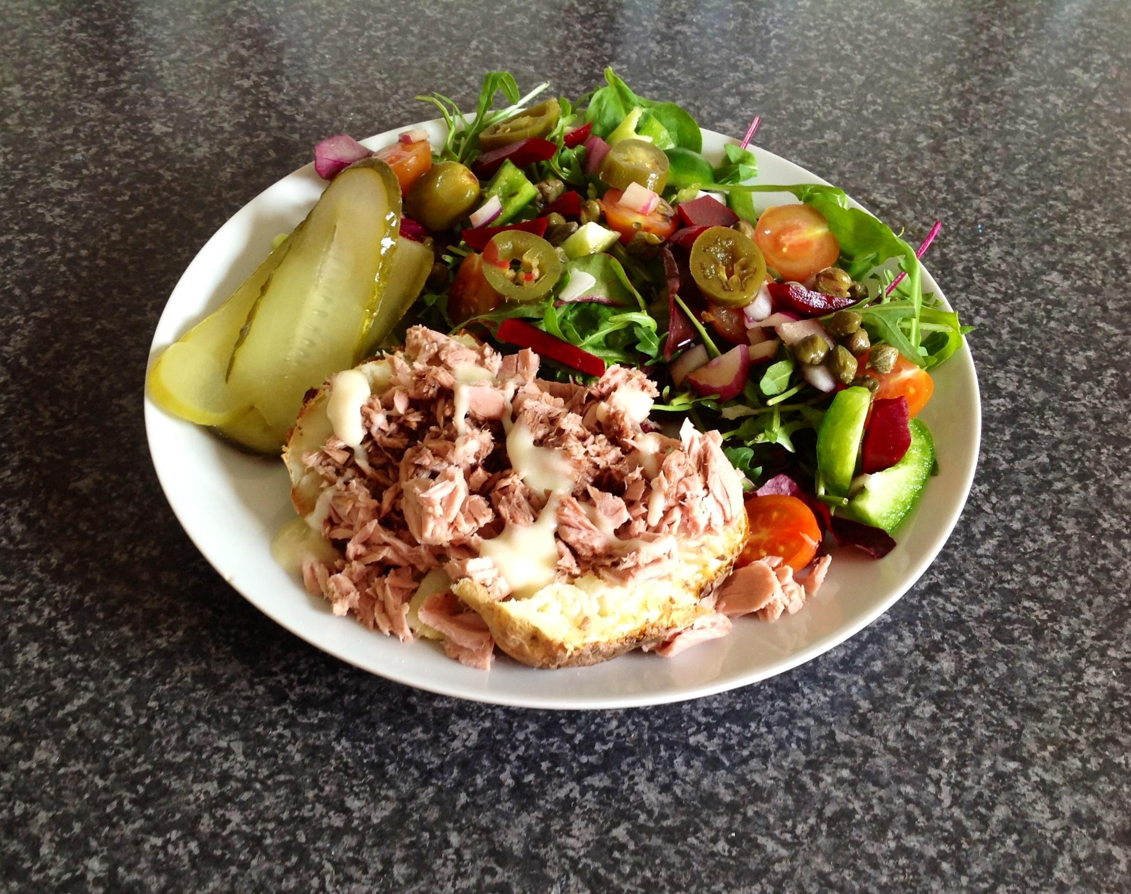 Jacket potato, tuna and salad