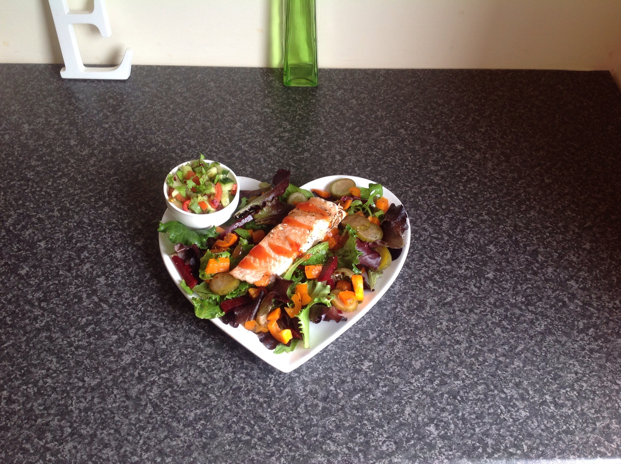 Sweet chilli salmon, salsa and salad
