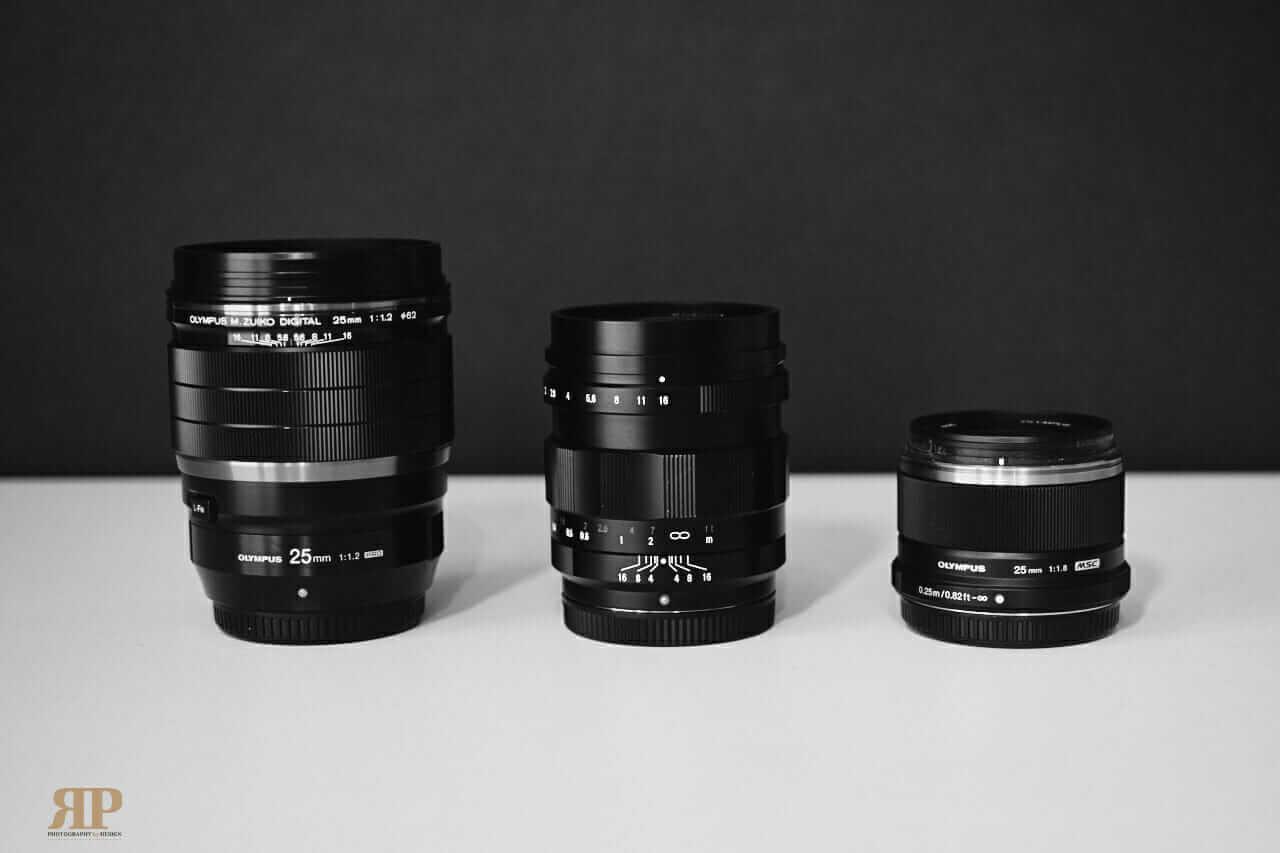 Olympus 25mm F1.2 Lens, Voigtlander F0.95mm Lens, Olympus F1.8mm Lens
