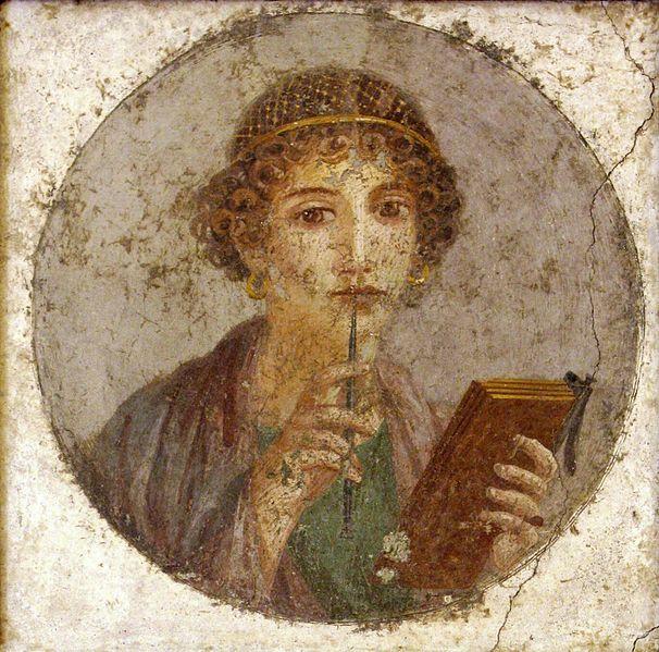 Sappho, fourth style fresco; AD 50