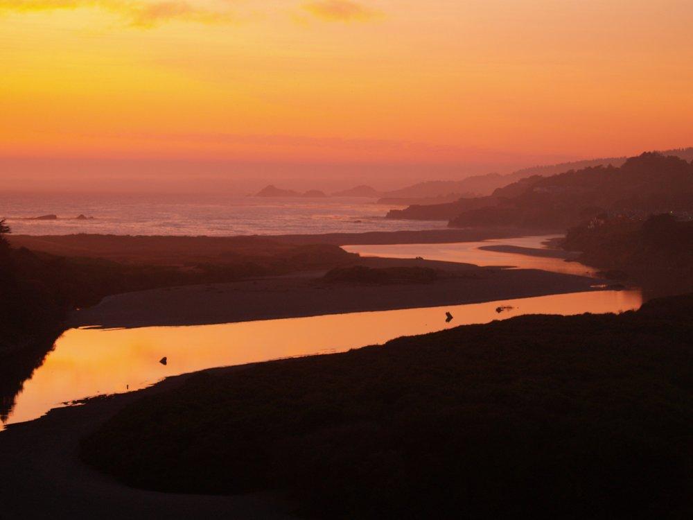 Gualala River At Sunset