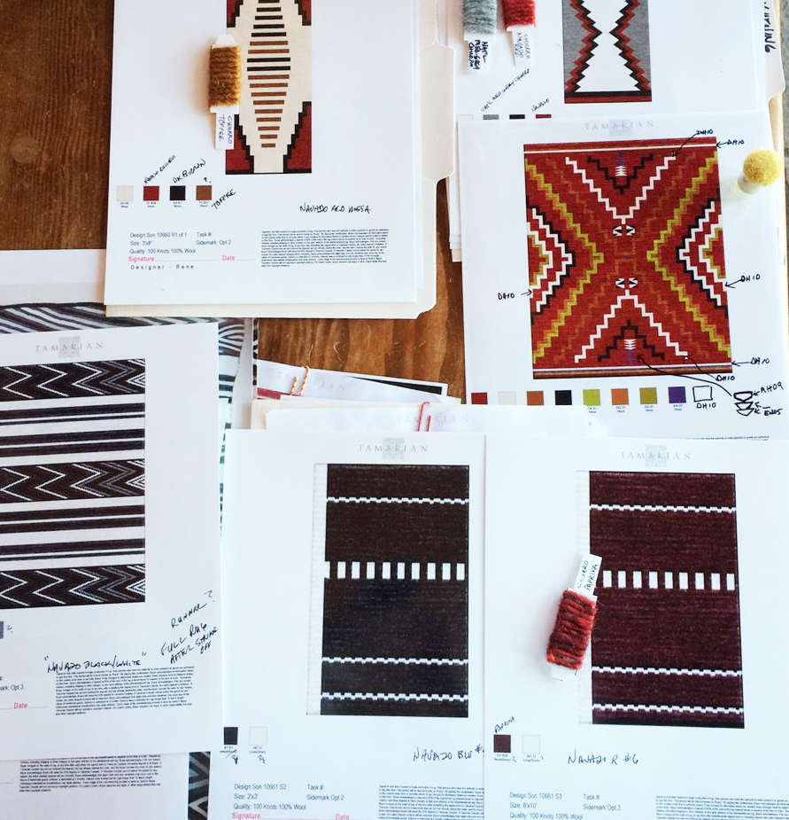 Next, - a rendering is produced. Once approved, a 2-by-3-foot strike off (a hand-knotted section of rug) is created for final sign off.