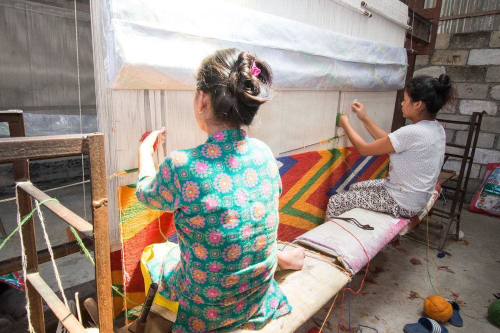 then, - the rug goes into production, being hand knotted by talented artisans in Nepal, using ancient techniques and lustrous, lanolin-rich Tibetan wool from sheep grazed at 14,000 feet. Depending on size and design, a rug can be completed within approximately 4 months.