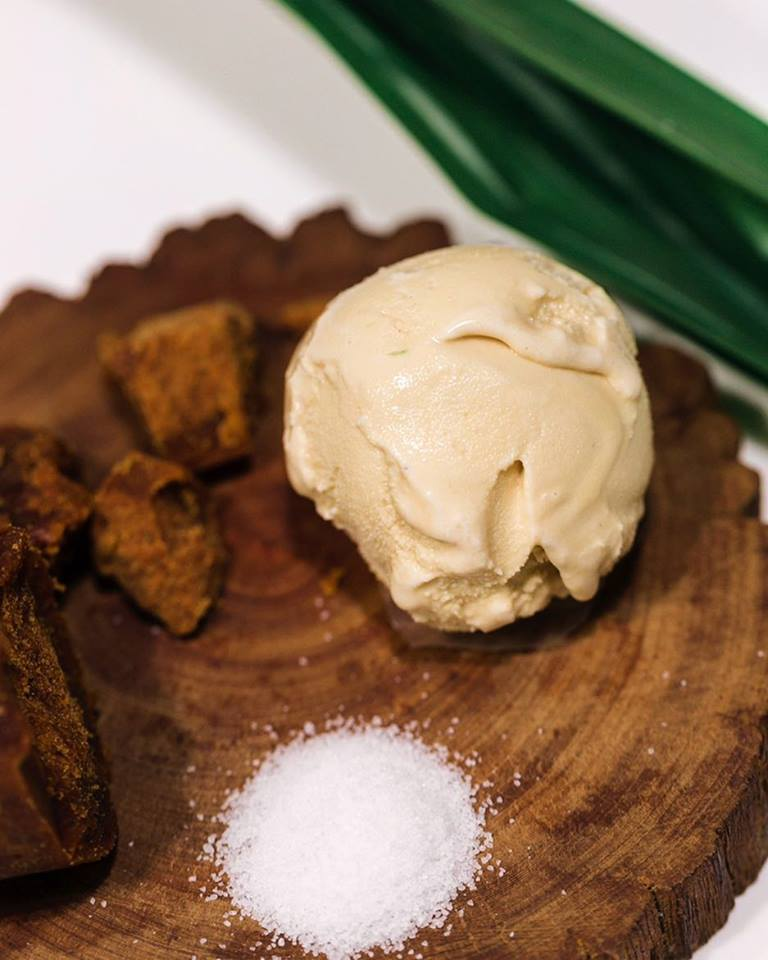 image of single scoop pandan gula melaka ice cream