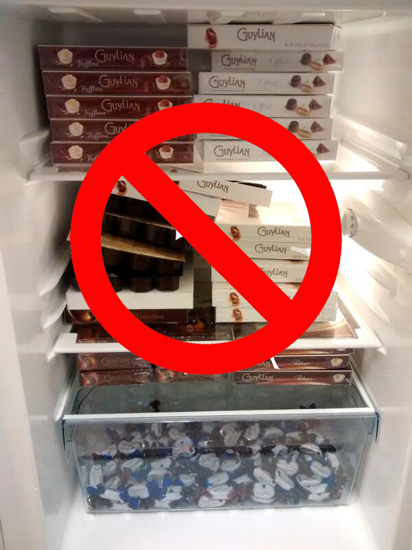 chocolate in fridge with warning sign