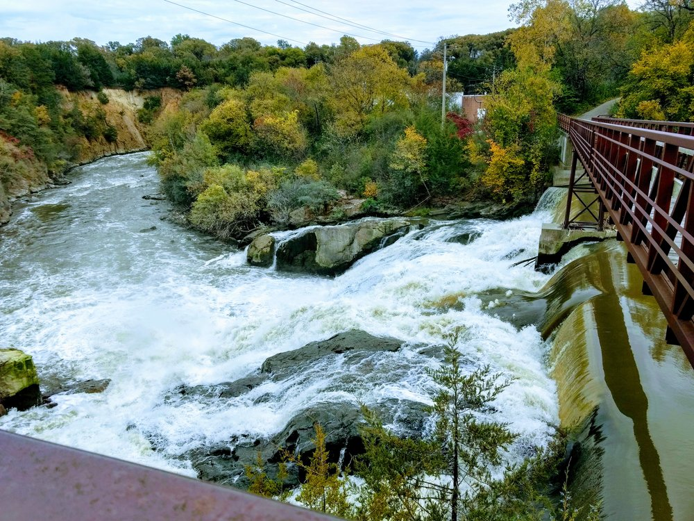 Redwood Falls - The walking bridge over the Redwood Falls, which islocated in Alexander Ramsey Park directly north of the B&B across Bridge Street/Hwy 71 & 19