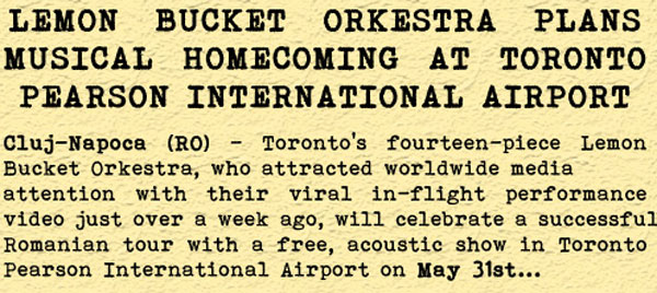 Lemon Bucket Orkestra's media release: airport homecoming concert