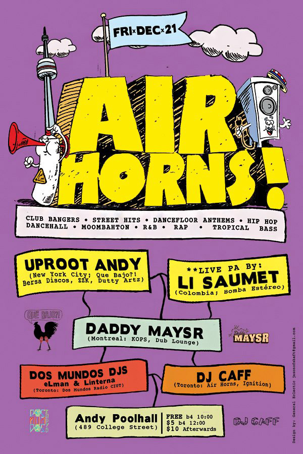 Uproot Andy in Toronto with Li Saument of Bomba Estereo. Poster by General Eclectic