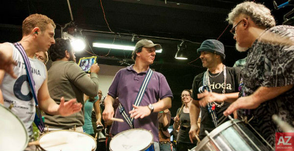 Samba group leaders from Toronto baterias, from left: Jon Medow, Alan Hetherington, Maninho Costa, Rick Lazar (Photo: Avital Zemer)