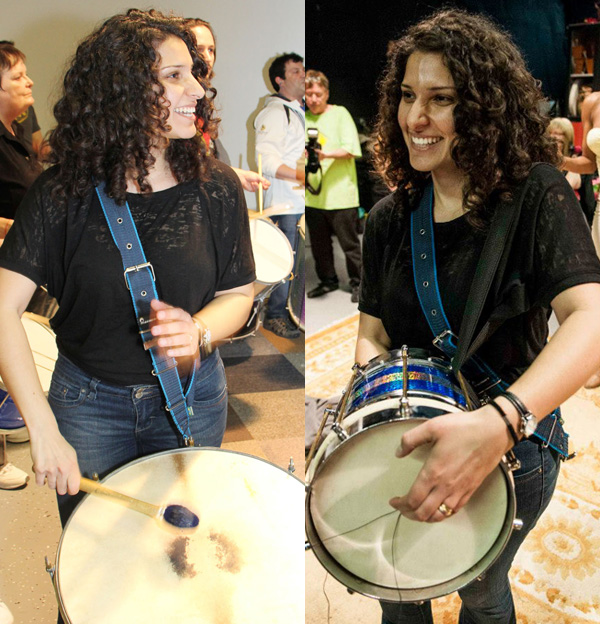 Negin Bahrami on surdo de terceira and cuíca at the April 7, 2013 Encontro de Baterias (Photos: Dave Burke (left); Avital Zemer (right)