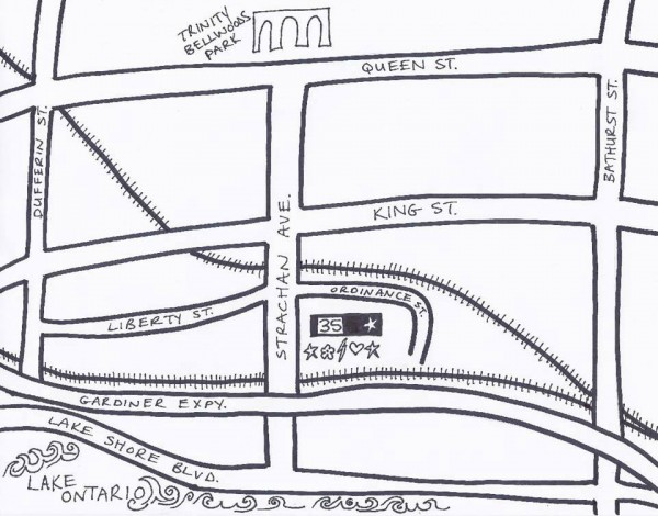 Map from Trinity Bellwoods park to Block Party 2013 location