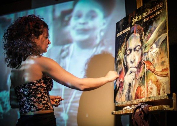 "Zara Diniz live painting a special reimagined tropical version of ""Blue Train"", the classic John Coltrane album, at Footprints, spring 2015."