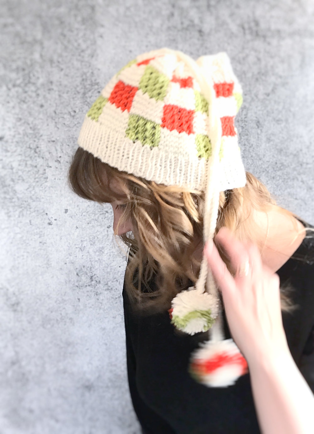 Crazy Blocks Knit Convertible Cowl Hat