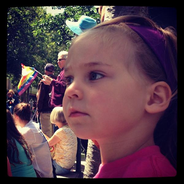 toddler at Santa Cruz Pride Parade
