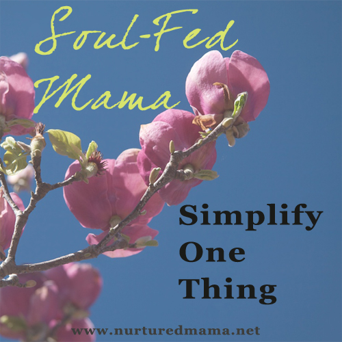 Simplify One Thing, part of the Soul-Fed Mama series at www.nuturedmama.net