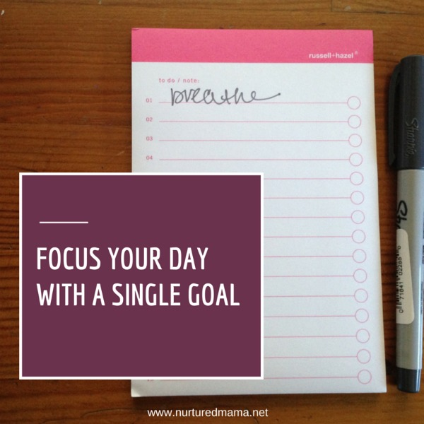 If being productive today means doing only one thing, what's the thing you need to do? :: www.nurturedmama.net