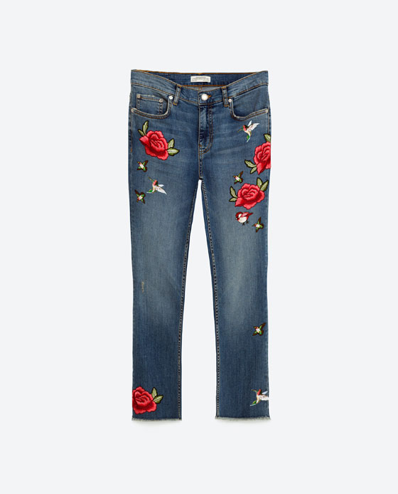 Super cute Zara embroidered jeans £39.99