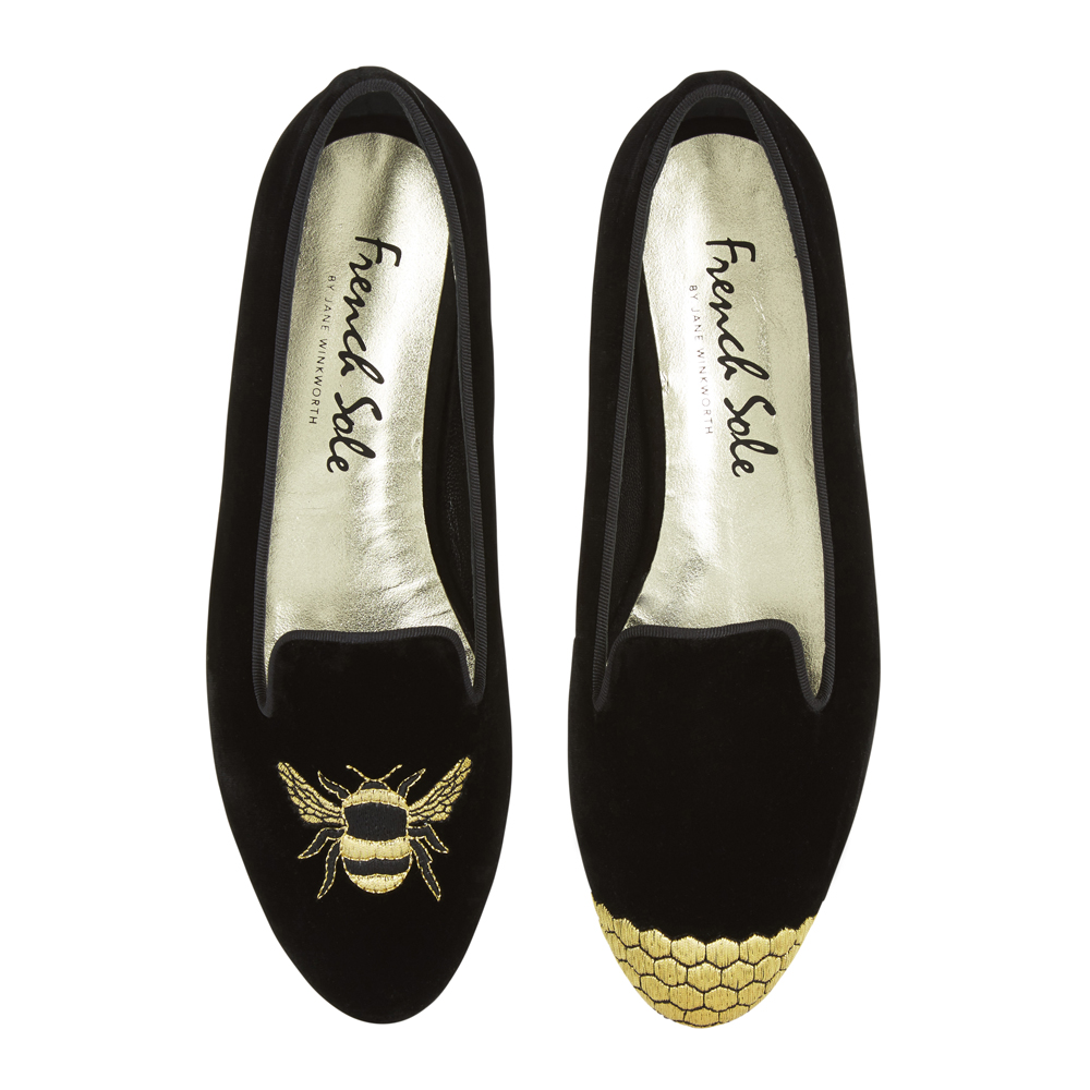 French Sole - Hefner Black Velvet Smoking Slippers with Gold Bee and Honey Embroidery - £180