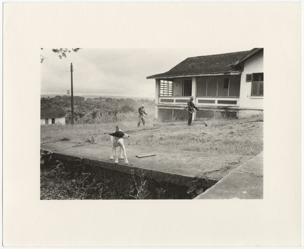 """Fordlândia manager's house on Vila Americana, with men weedwacking the front yard and dog, built in 1929 by the Companhia Ford Industrial Do Brasil Ford Motor Company. 2014, Fordlândia, Pará, Brazil. Gelatin silver fiber print, 8"""" x 10"""", 2014/2018"""