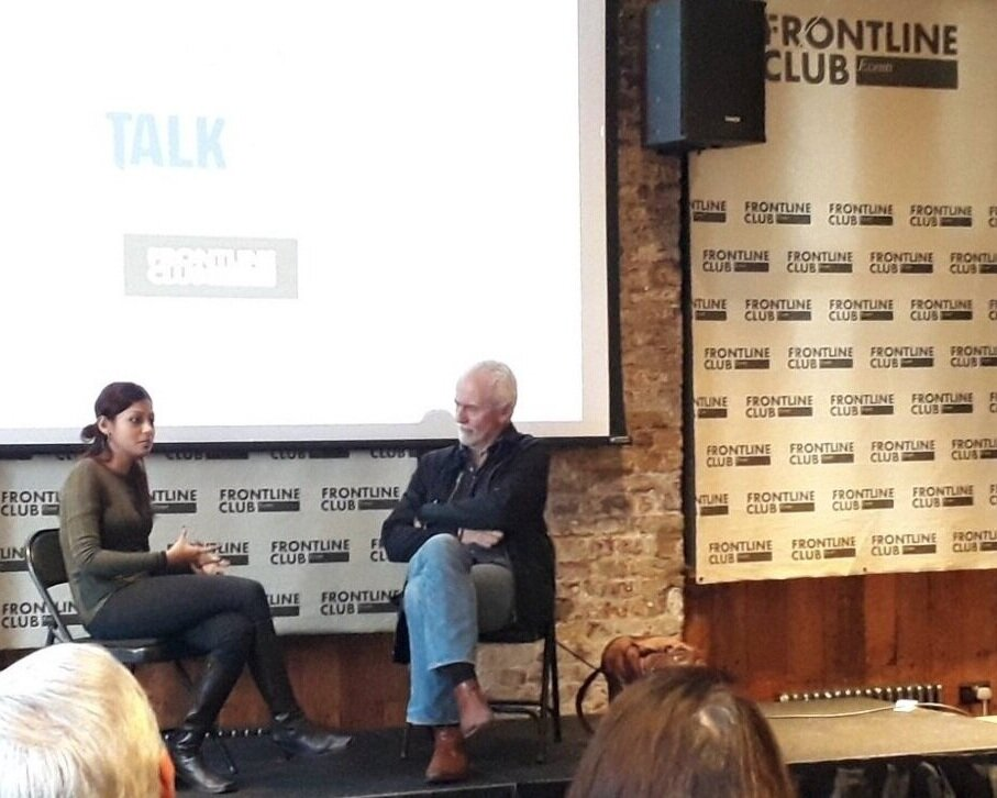 Interviewed by Nick Davies of the Guardian, at Frontline Club, London