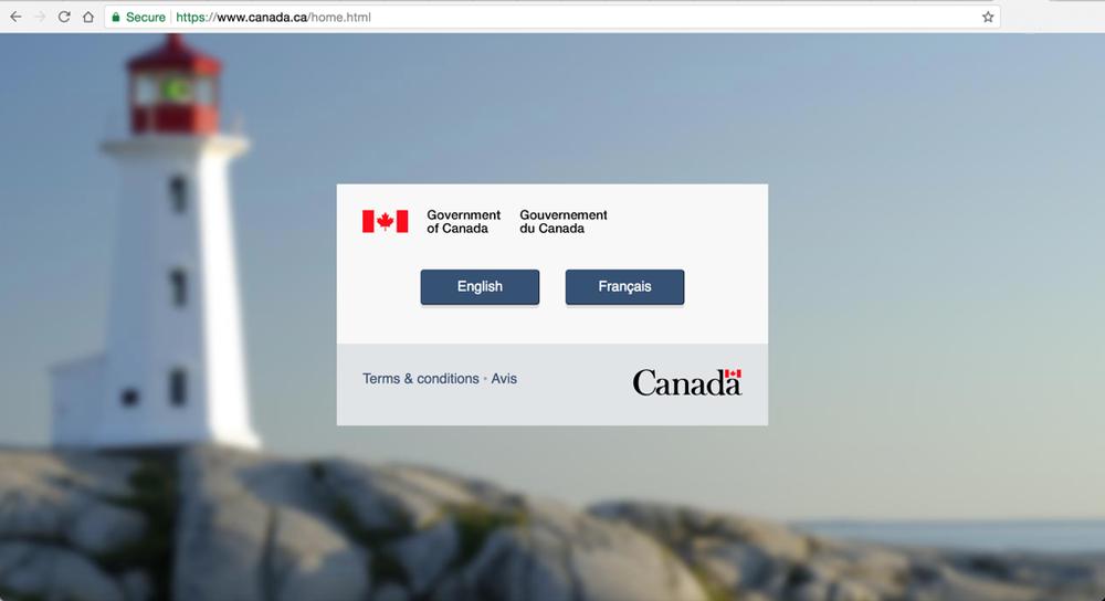 A Screen-cap of the Canada.ca Homepage