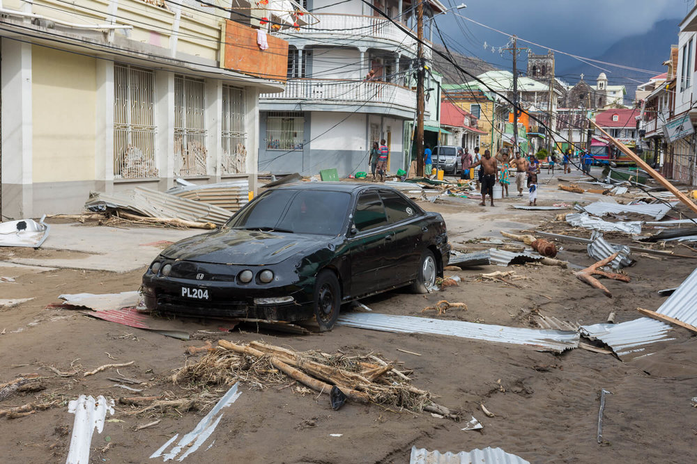 Destruction in the streets of Roseau, caused by Hurricane Maria.