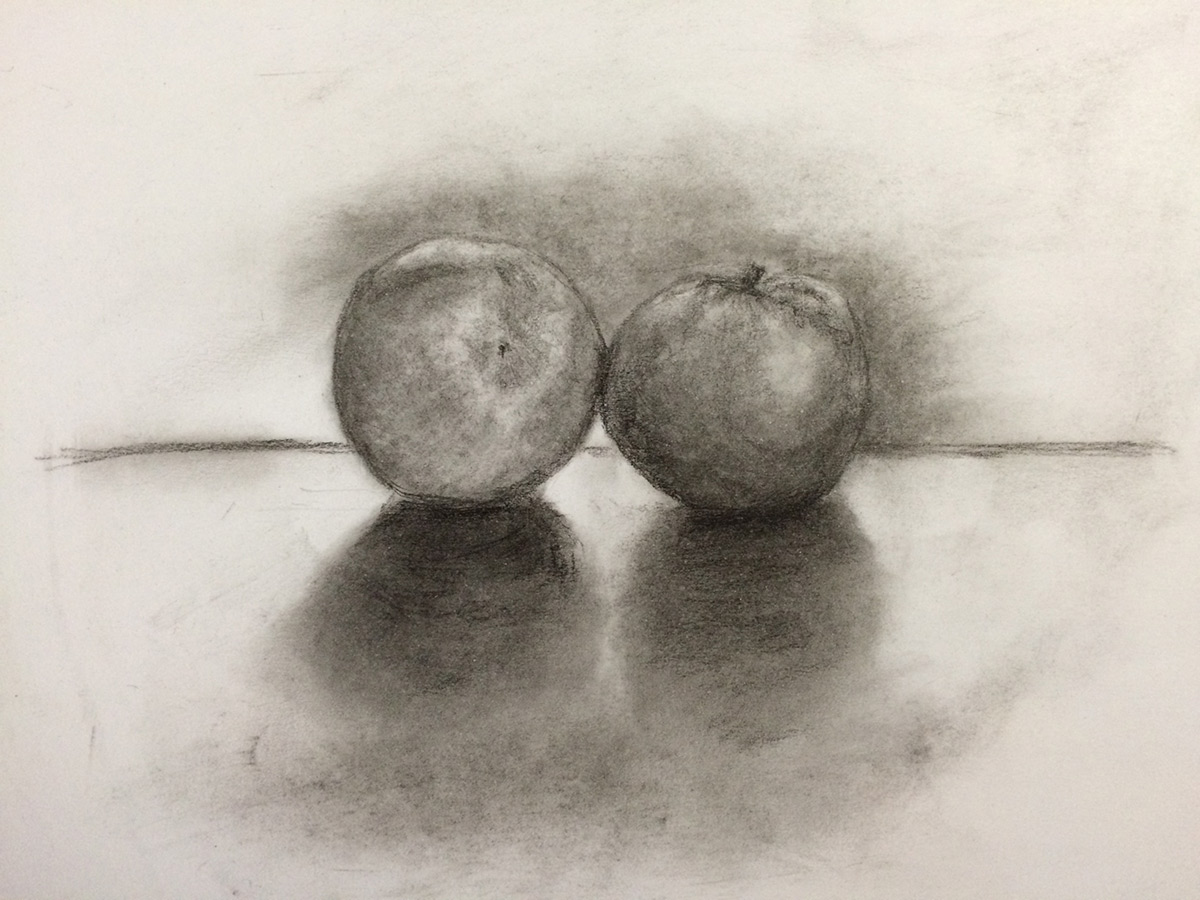 """Tangerines"" by L.S. King, part of the final drawing critique."