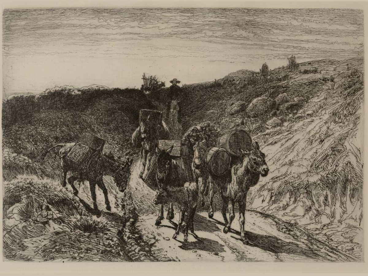 """""""A Burro Train, New Mexico"""" by Peter Moran, 6.75"""" x 9.25"""", etching, 1882. An example of the Etching Revival. Seen at the Argos Studio Gallery."""