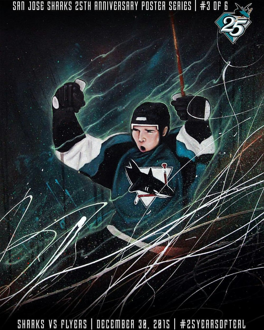 SJ Sharks 25th Anniversary Poster - Commissioned by the Sharks to paint 1 of 6 artist series posters they gave away to each fan in the game.Acrylic and Spray Paint2015