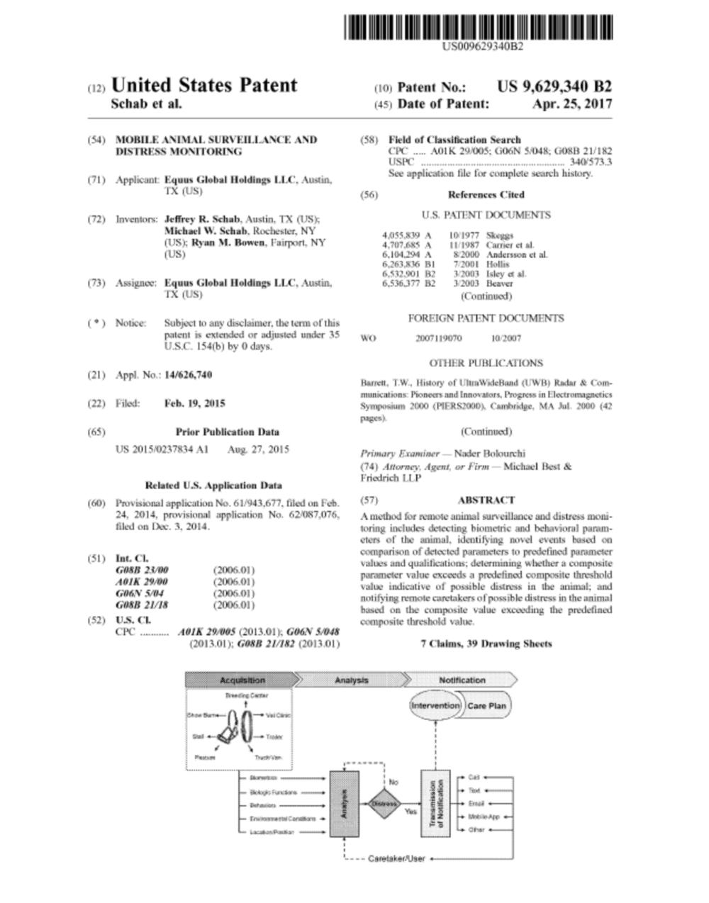 US patent no. 9,629,340