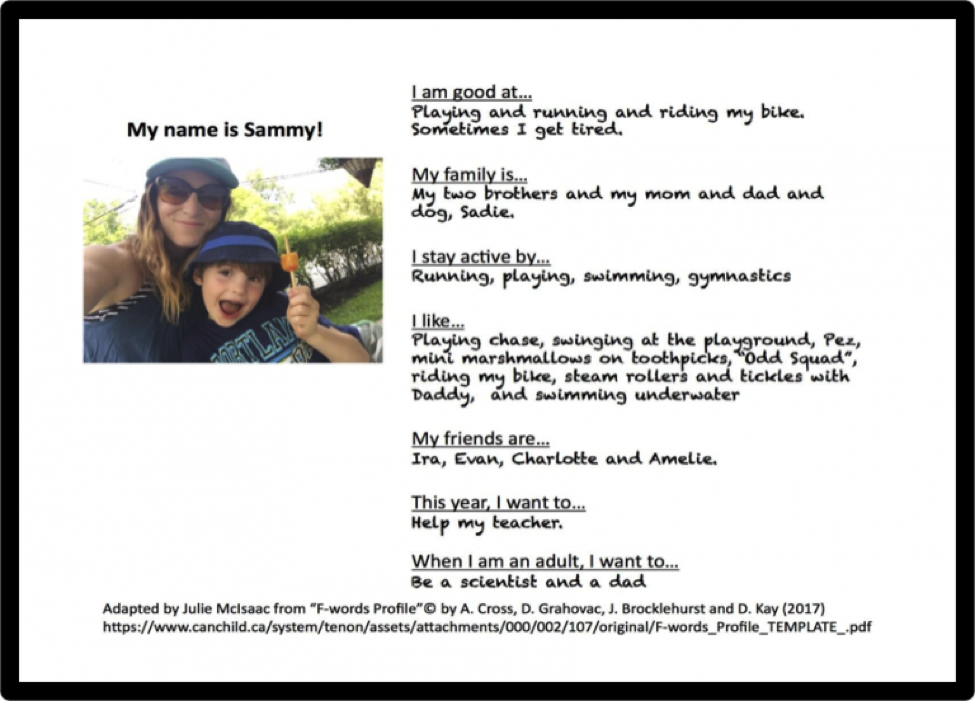 Card with information about a boy named Sammy