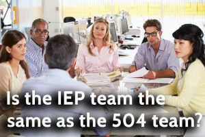 Is the IEP team the same as the 504 Team?