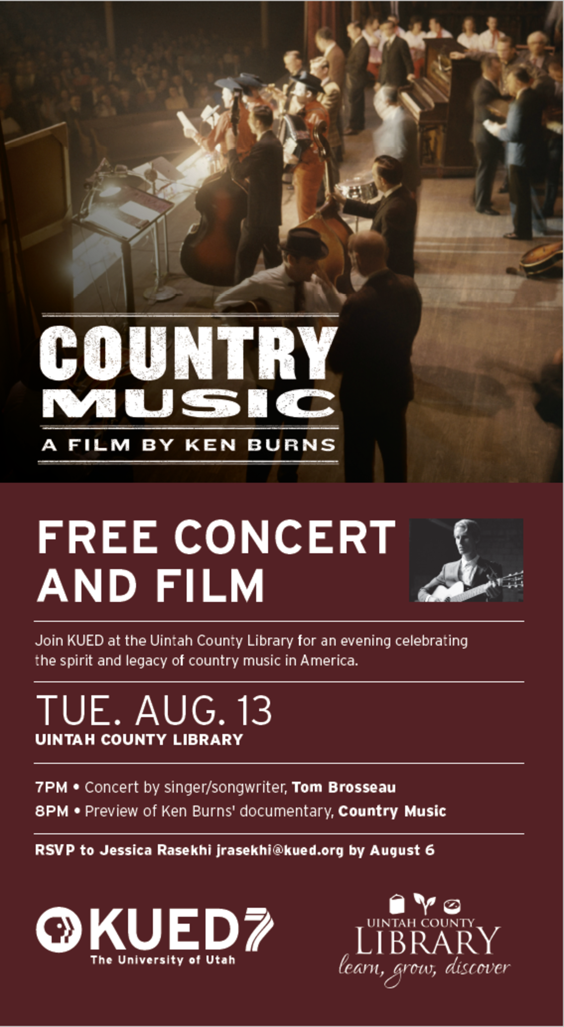 Tom Brosseau to perform at the premiere of the new Ken Burns