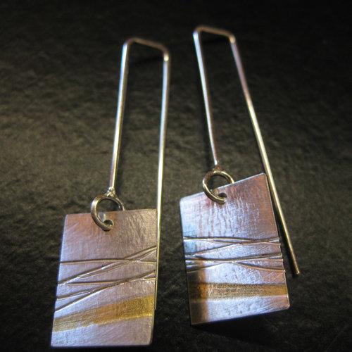 4ee471803 Keum Boo Earrings- 3 Designs - Handmade Sterling Silver Earrings  fused with ...