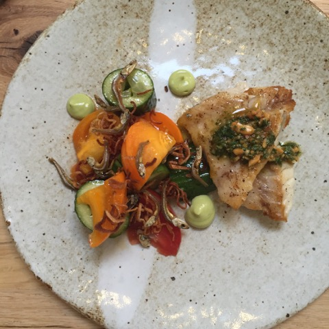 Pan Seared Red Snapper • Smashed Cucumber & Heirloom Tomato Salad • Fried Shallots • Dilis