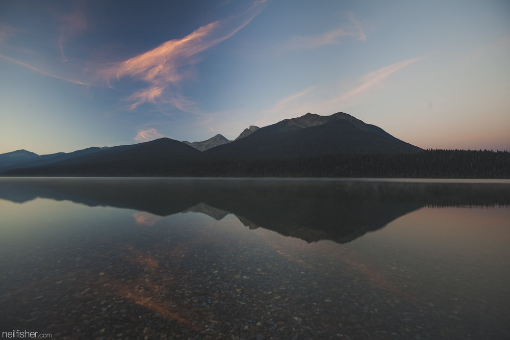 The first night was spent on the east shore of Isaac and the sunrise over Mount Peeve was amazing to say the least. There wasn't even the slightest whisper of wind and the reflections of the lake were perfect. EXIF 1.3sec f/5.0 ISO50 16mm