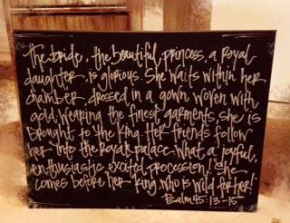 Handwritten Scripture Canvas - Psalm 45:13-15