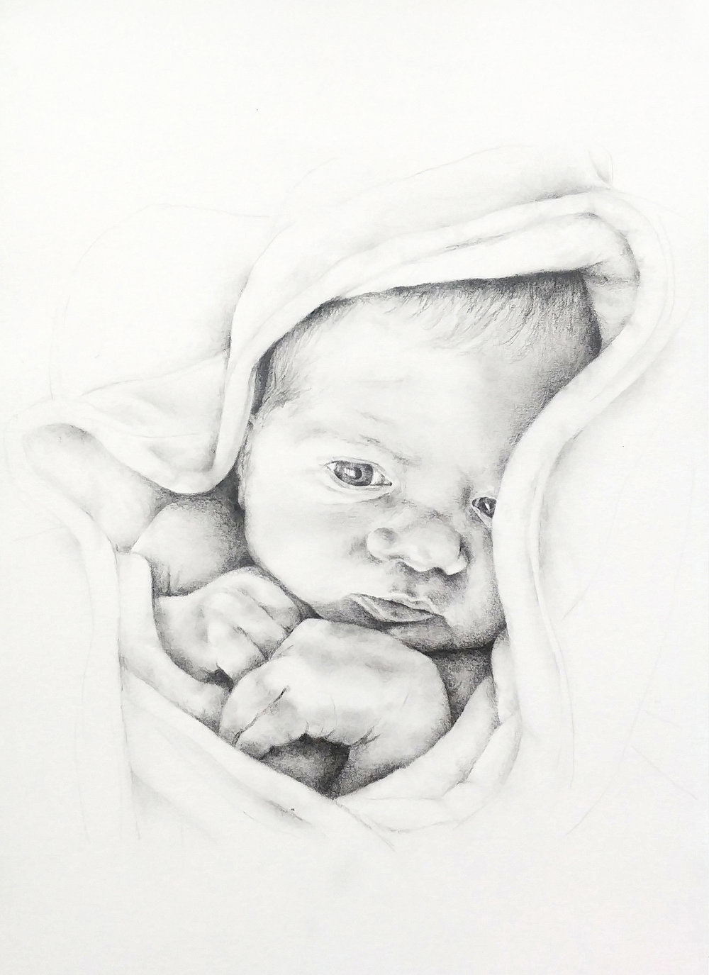 Baby portrait commission blue biro drawing baby sky