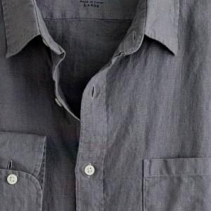 J. Crew Mens Grey Linen Shirt