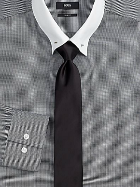 Boss Black Mini Houndstooth Contrast-Collar Shirt