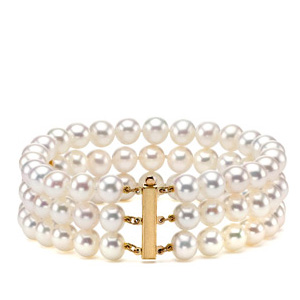 834245097c547 3-strand Freshwater White Pearl Bracelet — The Pearl Outlet