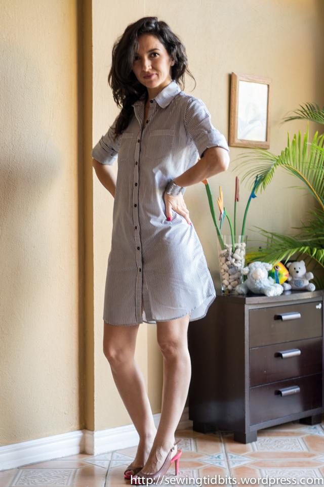 Sewing Tidbits - Striped Shirtdress-2