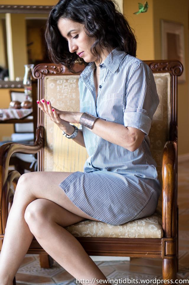 Sewing Tidbits - Striped Shirtdress-3