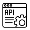 Icon showing APIs and SDK creating flexible experiences integrating the map anywhere