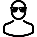 Icon showing person's head and shoulders wearing sunglasses