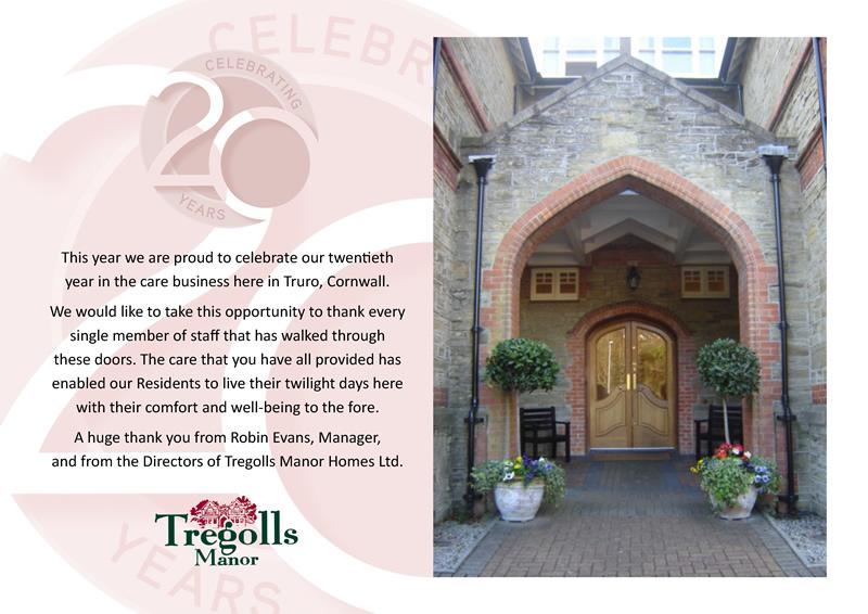 Tregolls Manor Care Home Cornwall Celebrates 20th Anniversary