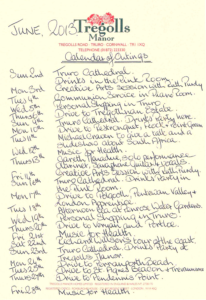 Activities Schedule at Tregolls Manor Care Home Truro, Cornwall