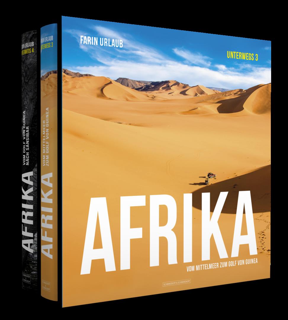 UNTERWEGS 3 & 4 - Farin Urlaub war wieder unterwegs! Diesmal zog es ihn mit seiner Kamera auf einen ganz besonders faszinierenden Kontinent: Afrika.Entstanden sind daraus gleich zwei enorme Bildbände im Großformat, die es sowohl einzeln, als auch im Doppelpack in einem hochwertigen Schmuckschuber geben wird. Über 1.000 durchgehend farbige Aufnahmen zeigen neben überwältigenden Landschafts- und Tieraufnahmen auch eindrückliche Innenansichten der vielfältigen Kulturen Afrikas.Die erste Auflage dieses Doppelbandes besteht aus 3.333 nummerierten und von Farin Urlaub handsignierten Exemplaren. Beide Bände tragen dabei die gleiche Nummer, und beide Bände sind signiert. Eine Besonderheit: Diesmal gibt es die Möglichkeit, Wunschnummern zu bestellen! Jede Nummer gibt es natürlich nur einmal, wer zuerst kommt ... Wunschnummern können nur direkt beim Verlag bestellt werden.Farin Urlaub: AfrikaUnterwegs 3: Vom Mittelmeer zum Golf von GuineaUnterwegs 4: Vom Golf von Guinea nach SansibarJe Band 352 Seiten, ca. 700 farbige Abbildungen. Großes Format 30 x 30 cm, durchgehend in Farbe gedruckt, fadengeheftet, fest gebunden, im stabilen Schmuckschuber.ISBN 978-3-86265-485-7199 EUR (D) Erschienen am 1. September 2015.